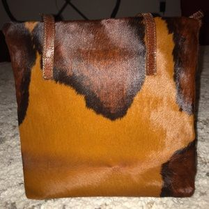 Brown Nicoli Fernando Animal Print Handbag